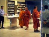 High tech monks in Select Citywalk mall, Delhi, Mar. 2014)