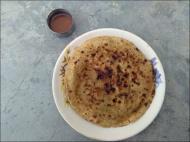 Breakfast options: parathas